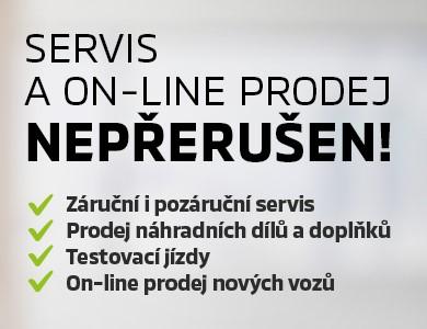 SERVIS A ON-LINE PRODEJ NEPŘERUŠEN!